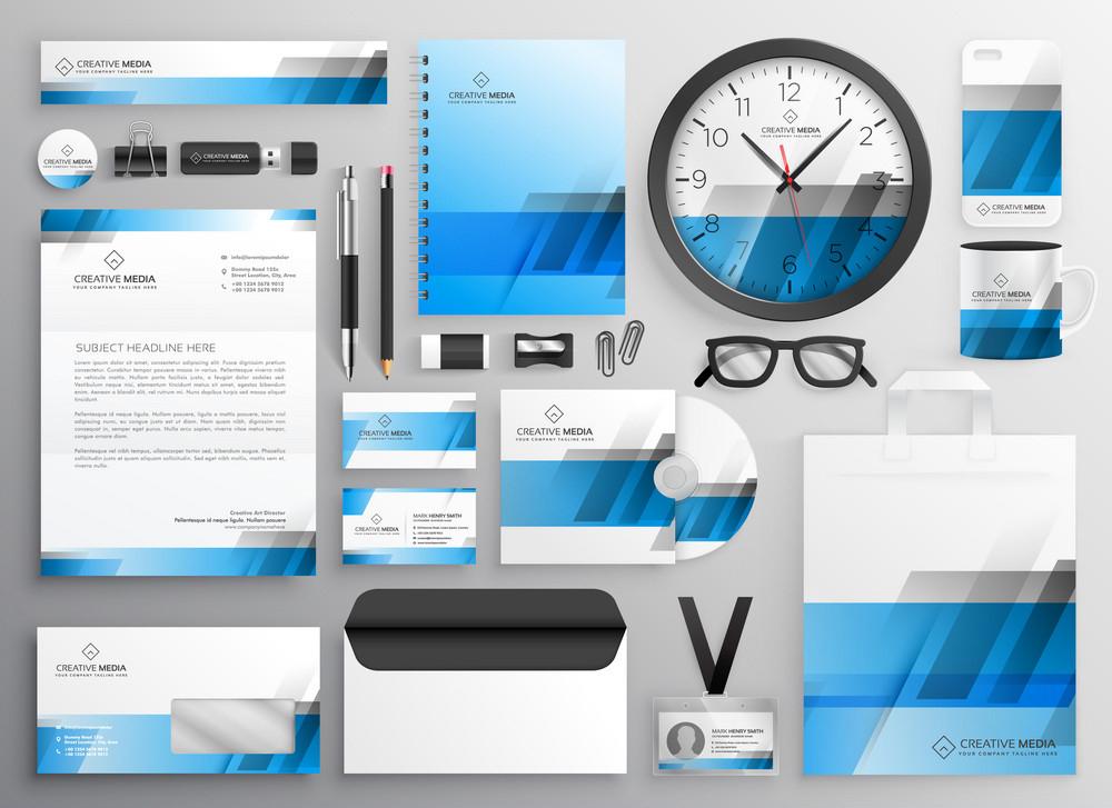 professional blue business stationery items set-PixelGraphics24